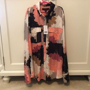 NWT BR button up floral blouse size XS